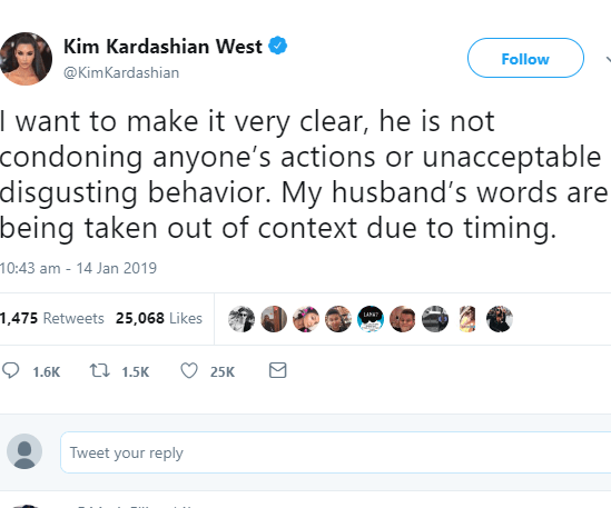 Kim Kardashian is forced to defend Kanye West after he reacted to the R. Kelly