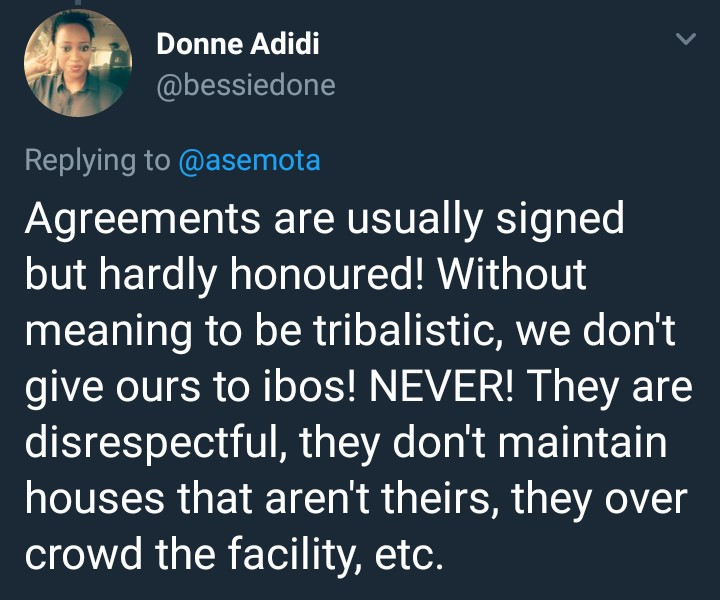 Twitter user says she never rents her house to Igbo people because they are disrespectful and lack maintenance culture
