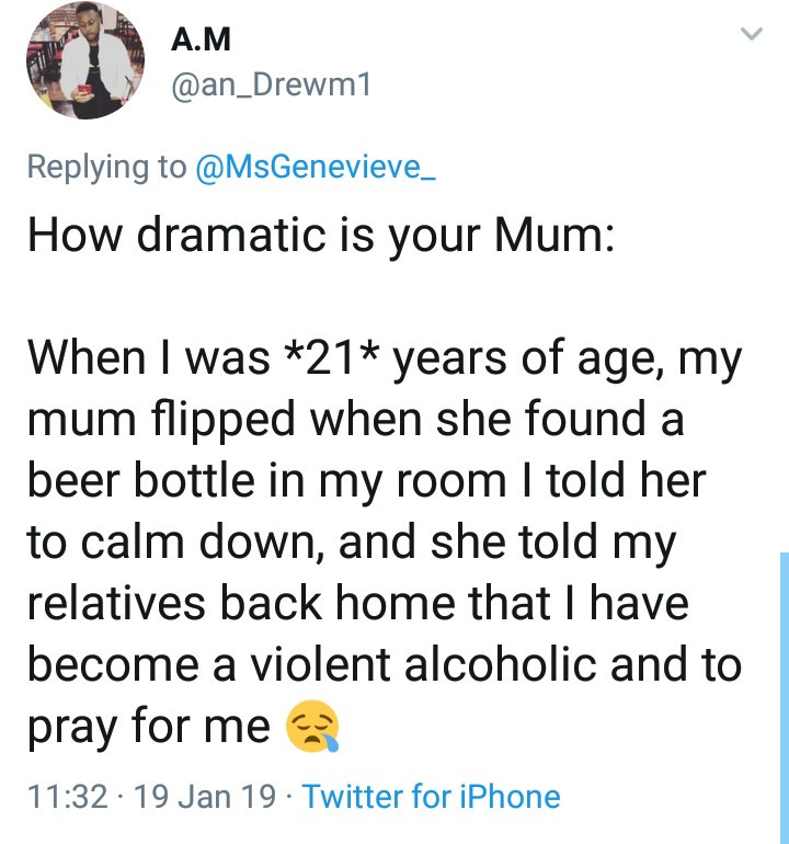 """Hilarious replies follow after Twitter user asked """"How dramatic was your mum"""""""