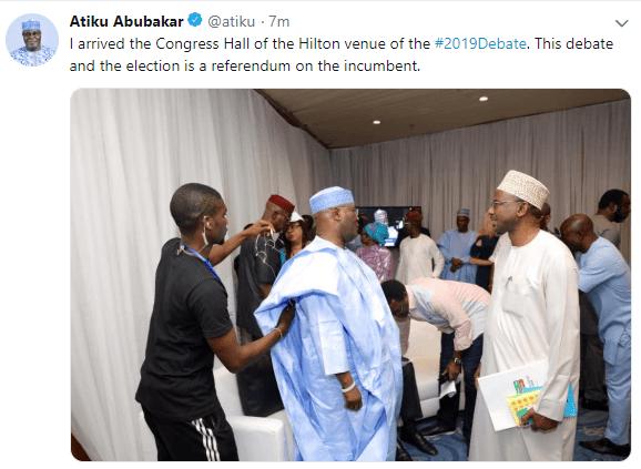 Photo: Atiku Abubakar arrived venue for the 2019 #Presidentialdebate, pulled out last minute due to Buhari