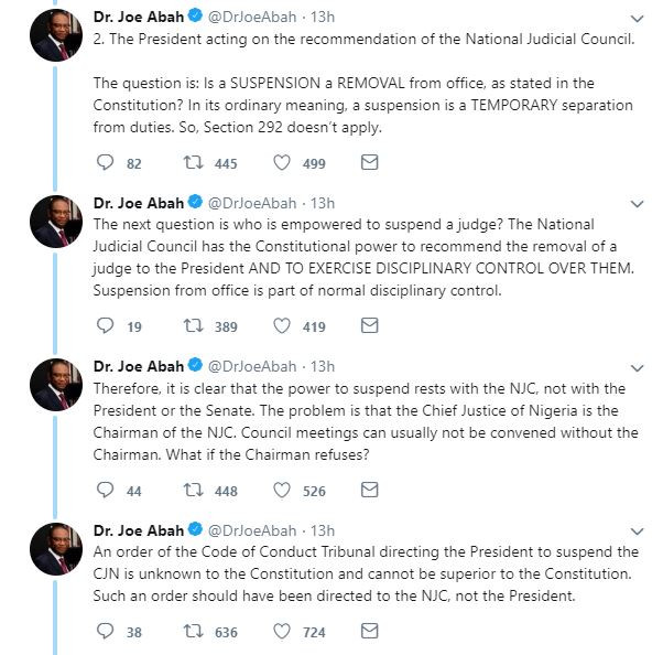 The Chief Justice,?National Judicial Council, CCT and President Buhari have each not acted correctly in the suspension of Onnoghen - Joe Abah