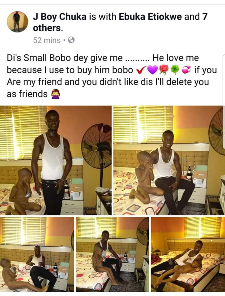 Outrage as Nigerian man hints at sexually abusing a little boy of about 4 (photos)