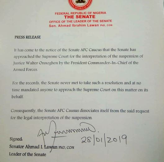 APC Senators?distance themselves from the suit?filed by Senate at the Supreme court over?Onnoghen