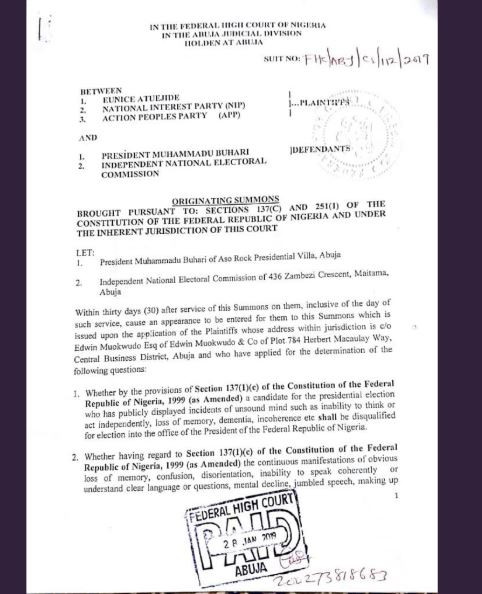 2019: President Buhari?is?mentally and physically unfit to continue In office - Opposition parties file lawsuit