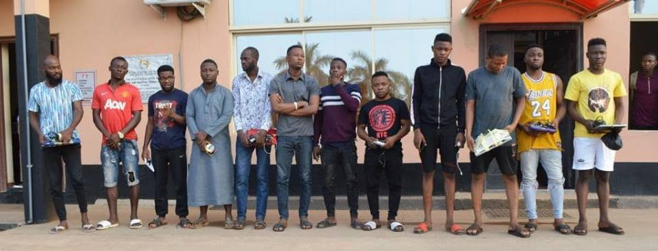 EFCC arrests 19 yahoo yahoo boys in Ibadan, recover pants, charms and laptops (Photos)