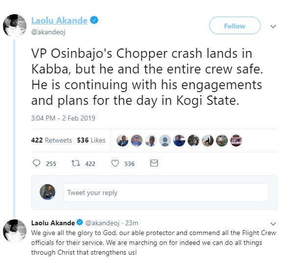 Breaking: VP Osinbajo survives as his?helicopter crash-lands In Kogi State