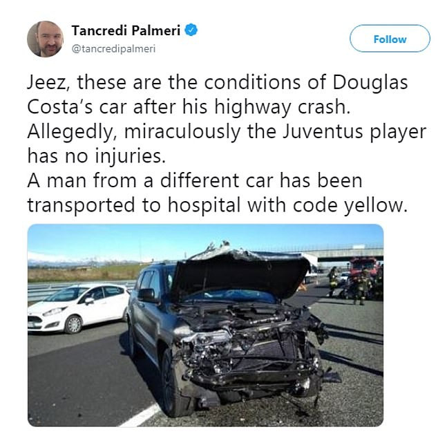 Juventus winger Douglas Costa involved in huge car crash in Italy (Photos)