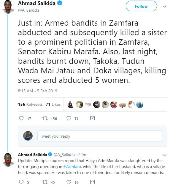 Armed bandits attack Madaba village in Zamfara State, kill dozens of people and a new bride was abducted - Journalist Ahmad Salkida