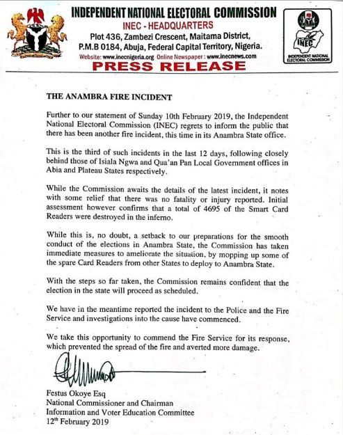 INEC confirms that 4,695 smart card readers got burnt in the Anambra State?inferno