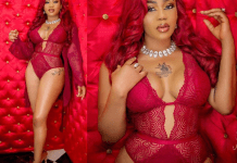 Toyin Lawani oozes s6ex appeal in sexy red lingerie (Photos)