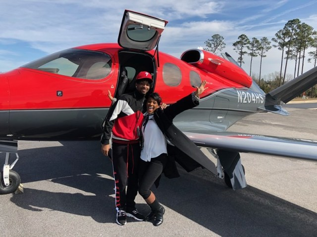 Rapper 21 Savage is pictured for the first time as he flies home from ICE Detention Center after his release (Photo)