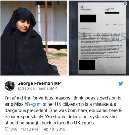 British schoolgirl who left the UK to join ISIS will be stripped of her UK citizenship