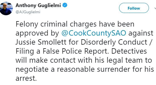 Update: Felony criminal charges have been approved?against Jussie Smollett as?detectives move in to?arrest him