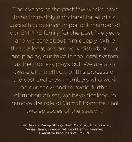 Empire producers dump Jussie Smollett from the last two episodes of this season