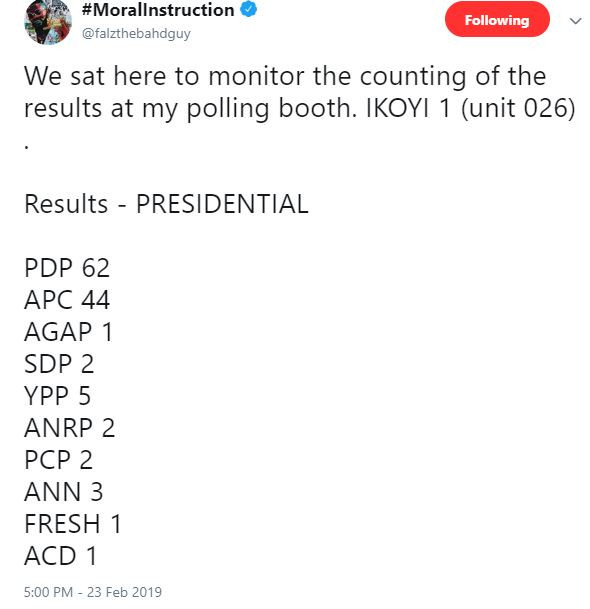 #NigeriaDecides: Singer Falz claims PDP won the presidential election at his polling unit in Ikoyi