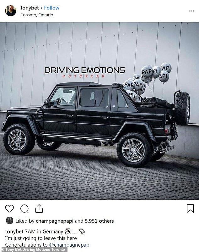 Drake splashes a whopping $600K on an ultra-rare Mercedes-Maybach G 650 Landaulet all-terrain vehicle (Photos)