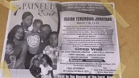 Man, wife, and their three children who died in fire outbreak are buried amidst tears