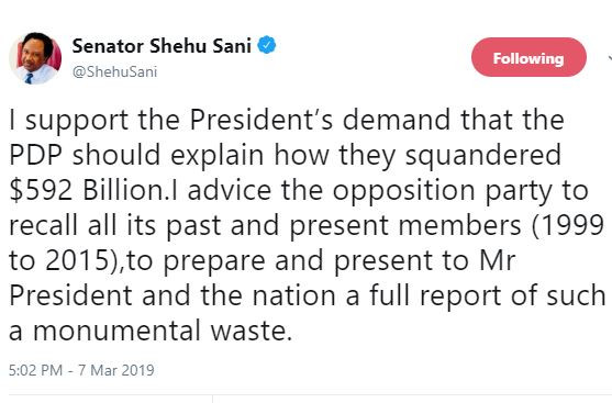 Shehu Sani backs President Buhari?s call for PDP members to explain how they squandered $592bn during their administration