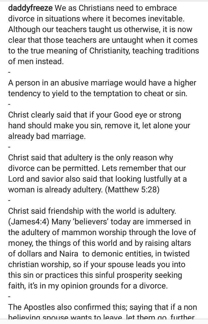 """""""We as Christians need to embrace divorce"""" - Daddy Freeze says"""