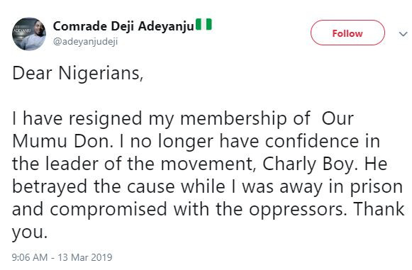Deji Adeyanju resigns from