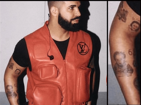 Drake debuts Tattoo of his son Adonis on his arm (Photos)