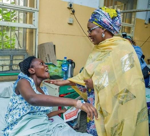 Photos: Aisha Buhari visits survivors of the Lagos building collapse