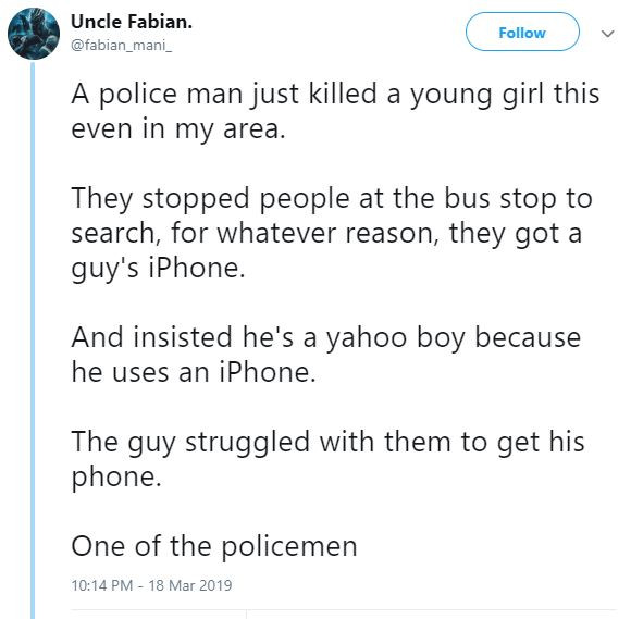Policeman allegedly struggling with suspect over an iPhone accidentally kills 14-year-old girl in Ikorodu