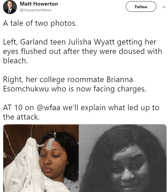 Nigerian girl schooling in Texas is arrested for pouring bleach in her roommate