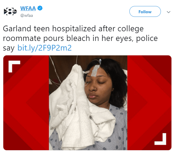 18-years old Nigerian girl schooling in Texas arrested for pouring bleach in her roommate's eyes