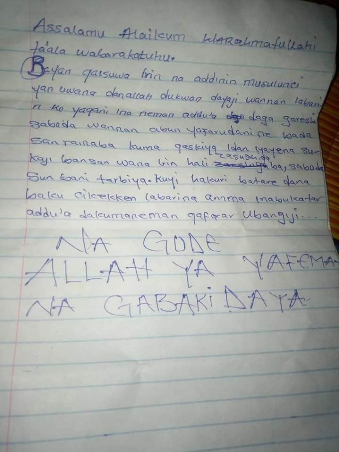 Photos: Day old baby dumped behind hospital in Kaduna with an appeal note left by the mother