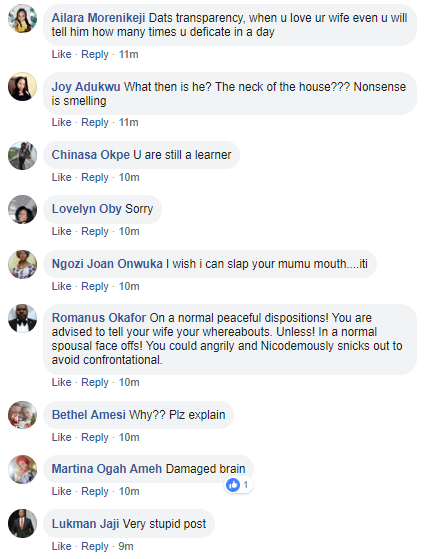 """""""A man who gives details of his whereabouts to his wife is not the head of his house"""" Man says and Facebook users react"""