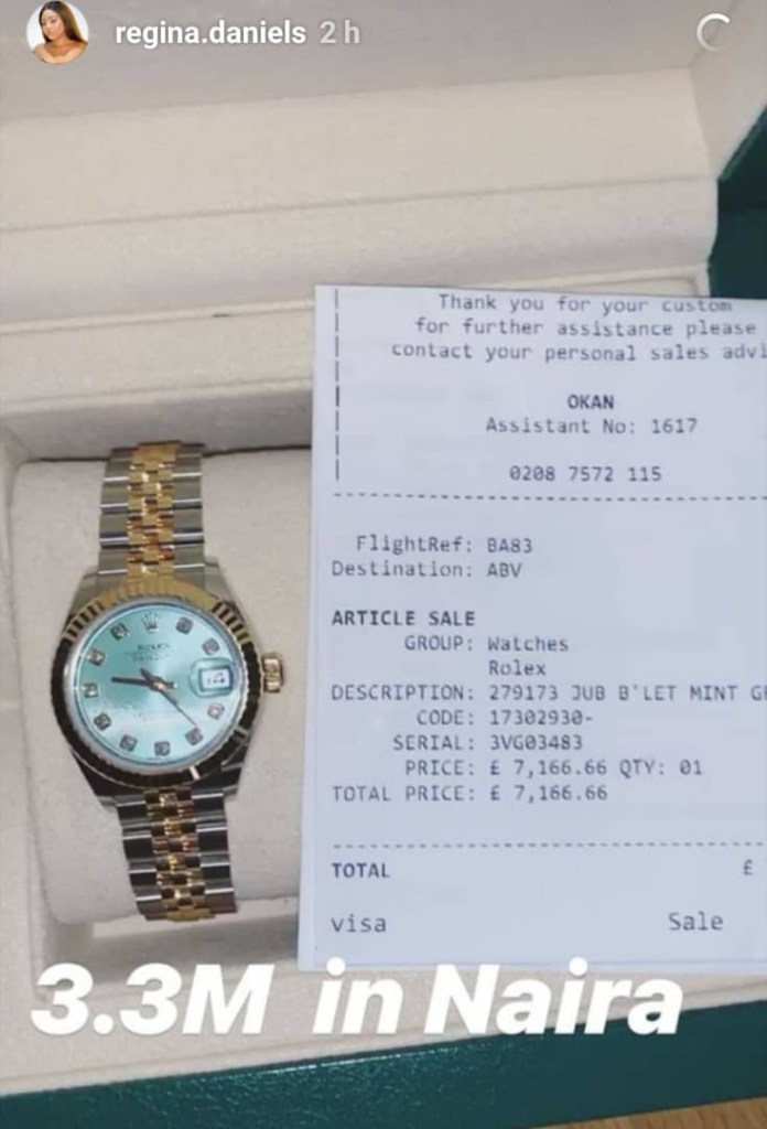 Actress Regina Daniels shows off N3.3m Rolex watch, claims it is hers!