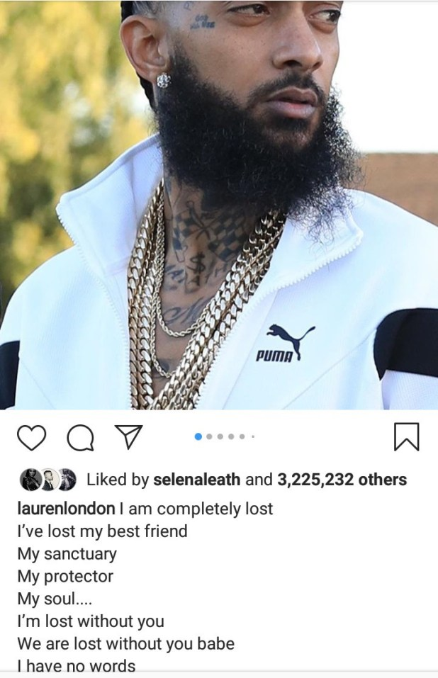 Lauren London finally reacts to the death of her man Nipsey Hussle