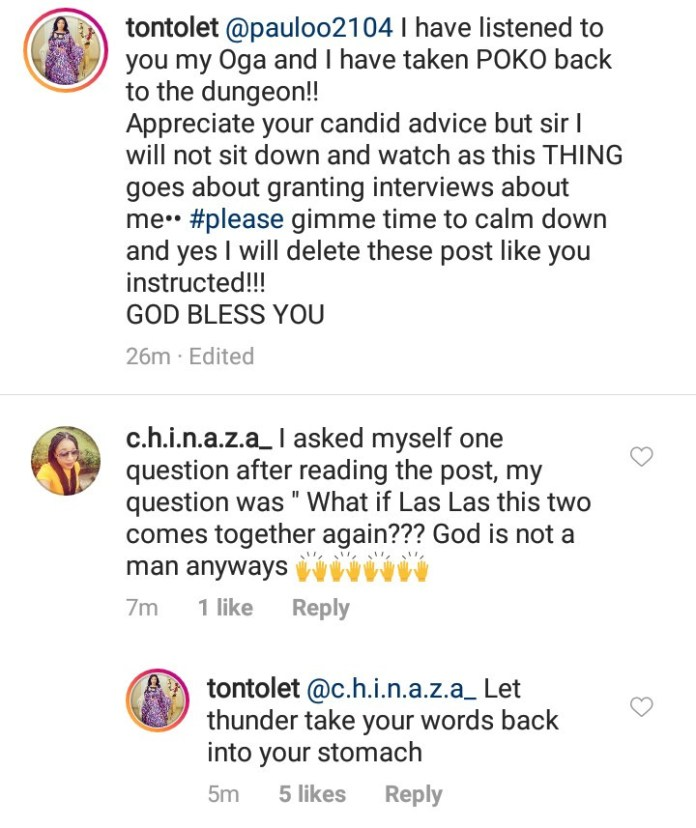 Tonto Dikeh cusses out follower who hopes she and ex-husband Churchill will get back together