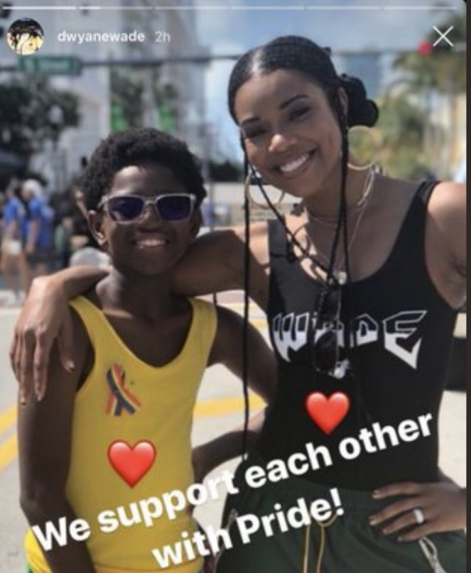 Dwyane Wade and Gabrielle Union publicly support their son at a gay pride parade