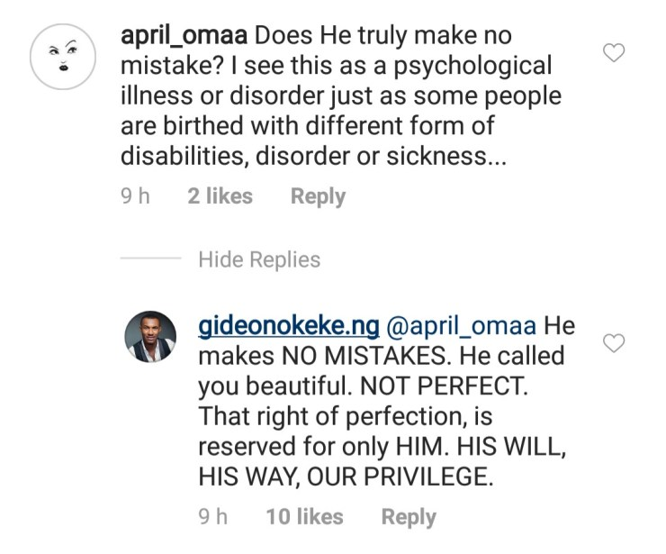 Between Gideon Okeke and an IG users who attacked him for condemning gay marriages