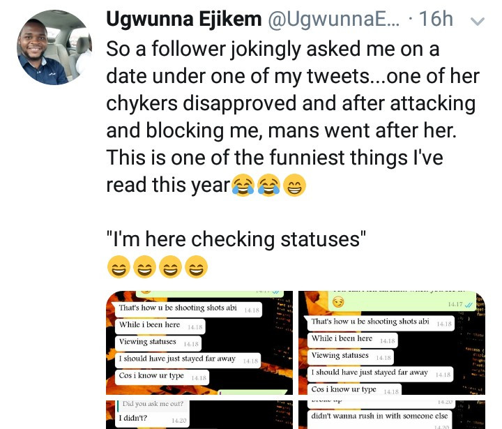 See the shocking messages a man sent to his crush because she jokingly asked another man out