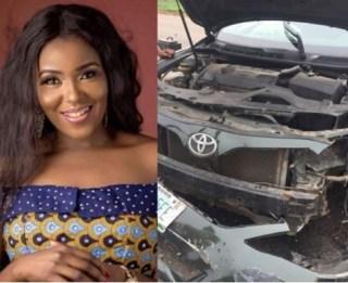 Actress, Abiola Adebayo survives terrible car crash (Photos)