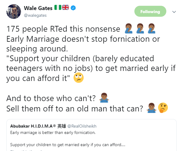 Comedian, Wale Gates tackles Nothern Nigerian man who says early marriage for children is better than early fornication