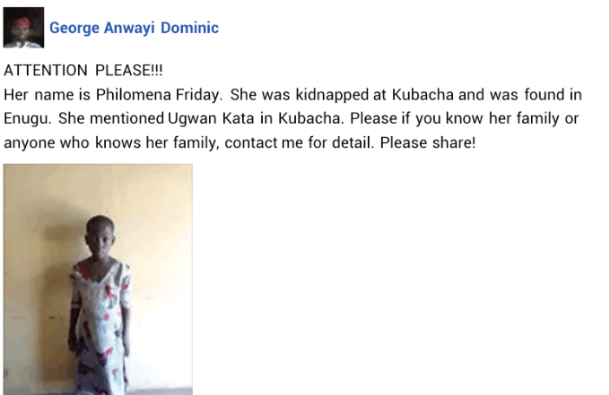 Photo: Young girl kidnapped in Kaduna and found in Enugu state