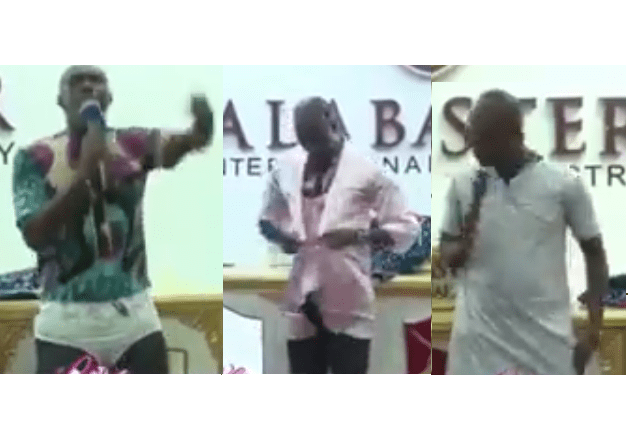 Hilarious video of Ghanaian prophet wearing panties and nighties in front of his congregation as he lectures married women?