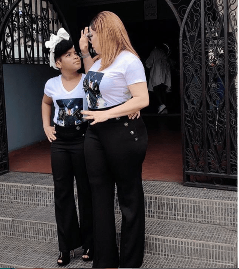 Beautiful photo of Monalisa Chinda and her daughter Tamar twinning in matching outfits