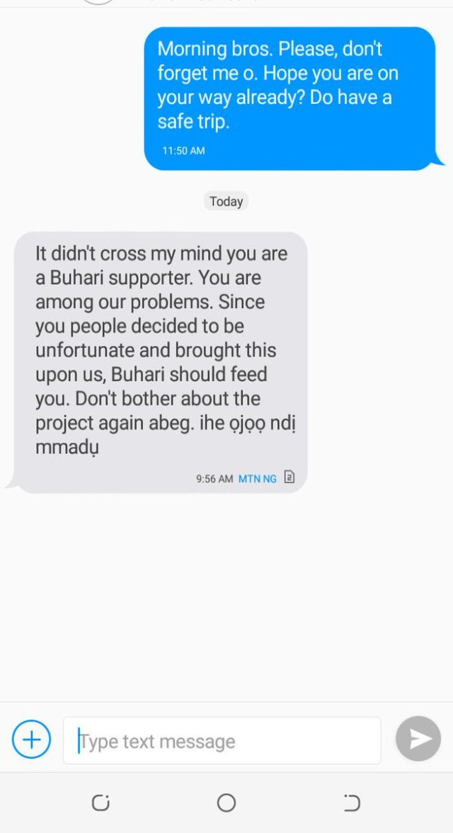 Nigerian man loses N3.4m contract for being a President Buhari supporter