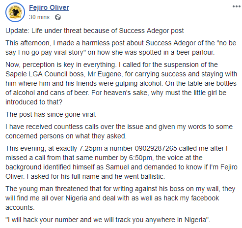 Journalist who called out Sapele local govt chairman for taking viral sensation Success Adegor to a