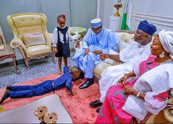 Check out this cute photo of Governor?Ambode?s children prostrating to welcome President Buhari to Lagos