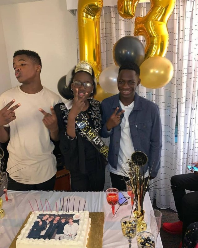 Photos: 2Face Idibia flies to the US to surprise his daughter on her 13th birthday