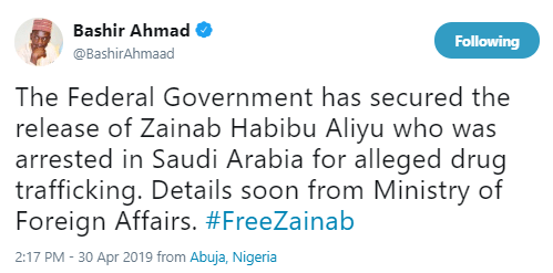 Breaking: FG secures release of Zainab Aliyu, Nigerian lady wrongly detained for drug trafficking in Saudi Arabia