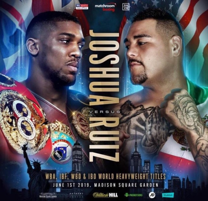 Anthony Joshua to fight Andy Ruiz at Madison Square Garden on June 1 after Jarrell Miller withdrew from the bout for failing a drugs test