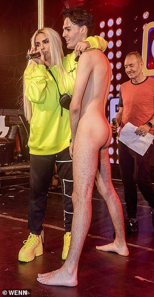 Katie Price flashes her assets while judging the G-A-Y Porn Idol night as contestants go naked in front of her (18+photos)