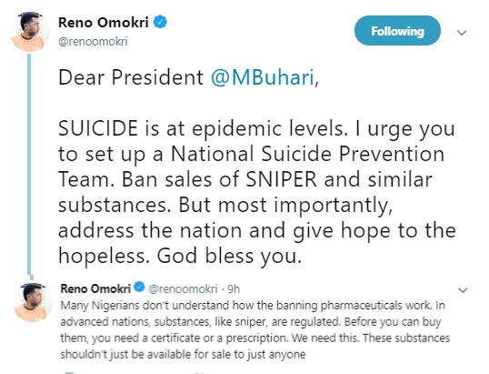 Suicide is now at epidemic level in Nigeria, ban the sale of Sniper now- Reno Omokri tells President Buhari